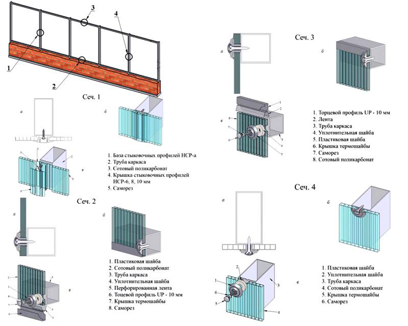 Общая схема монтажа поликарбоната