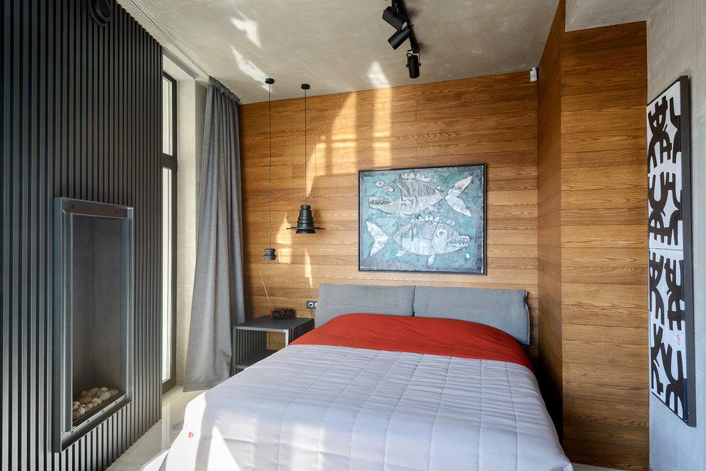 Ламинат на стенах в спальне