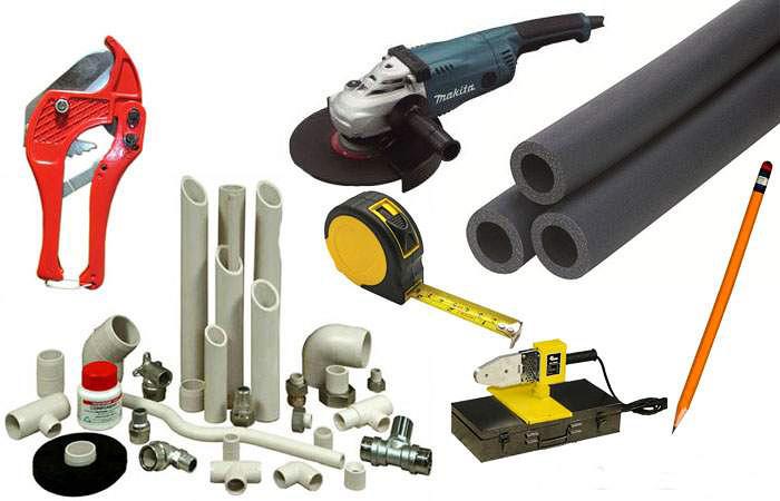 Необходимые инструменты для монтажа подводки из пластиковых труб, полотенцесушителя