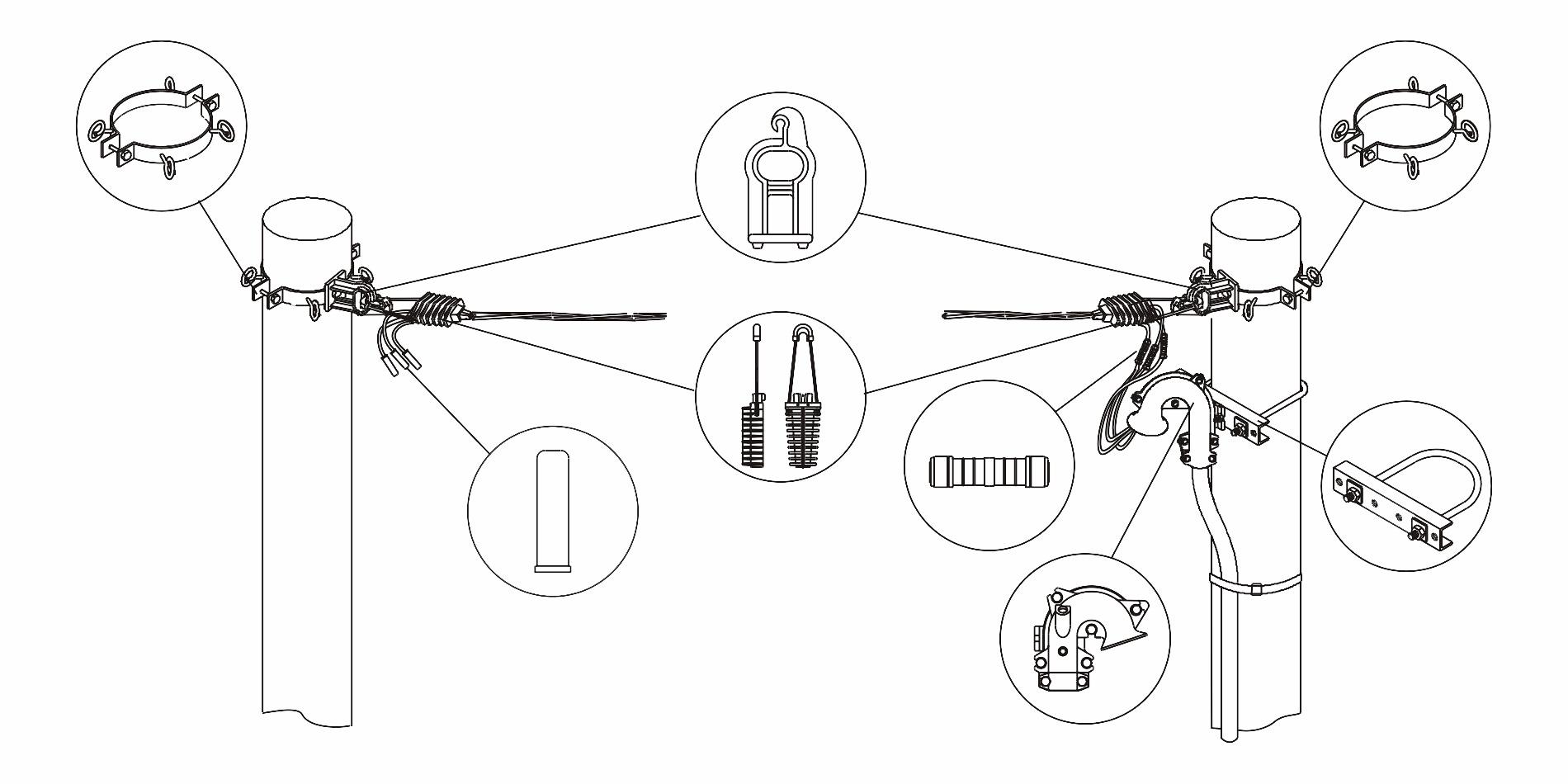 Особенности закрепления провода на опорах
