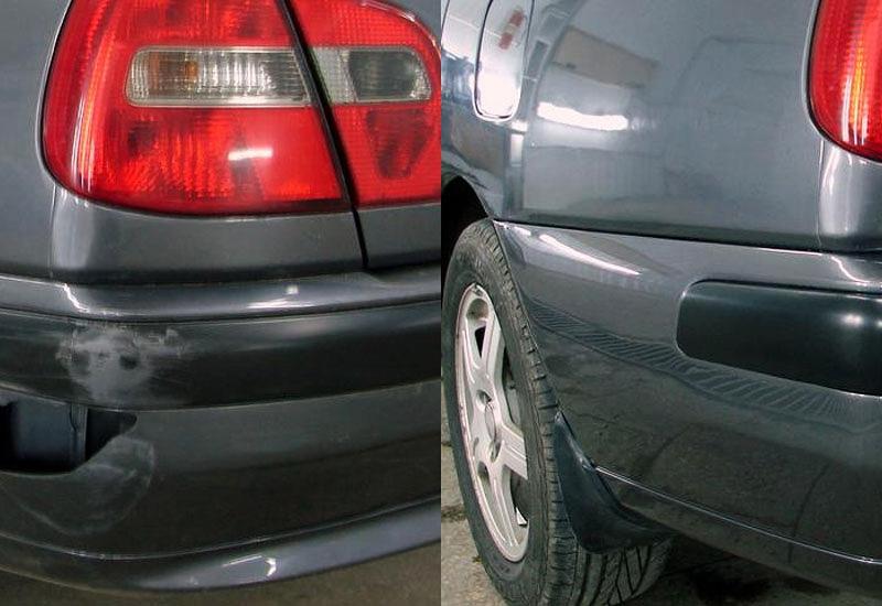 Отремонтированный бампер автомобиля до и после