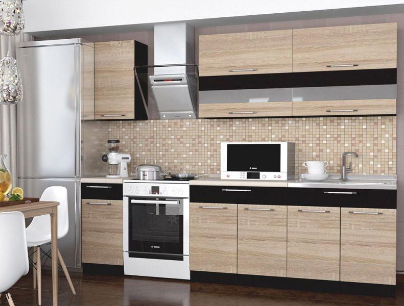 Кухонный гарнитур с навесными и напольными шкафчиками