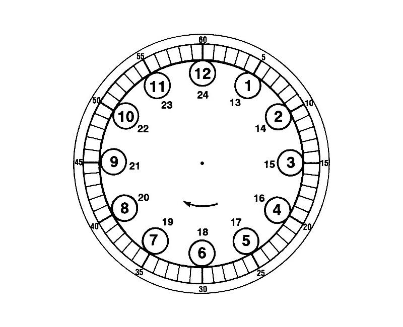 Макет с обозначением часов и минут