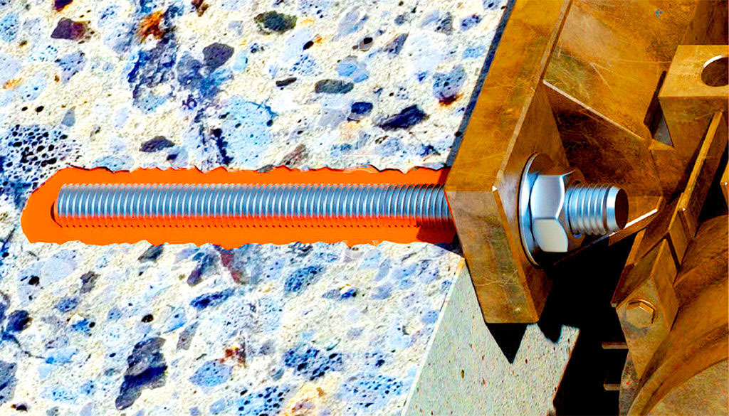 Шпилька, зафиксированная в бетонной поверхности